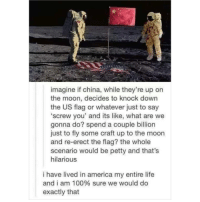 America, Anaconda, and Instagram: imagine if china, while they're up on  the moon, decides to knock down  the US flag or whatever just to say  screw you' and its like, what are we  gonna do? spend a couple billion  just to fly some craft up to the moon  and re-erect the flag? the whole  scenario would be petty and that's  hilarious  i have lived in america my entire life  and i am 100% sure we would do  exactly that @soinnocentparent was voted 1 sexual meme page on instagram 😂💀🔞