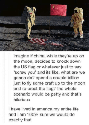 Yea we would by TrollerCoaster870 MORE MEMES: imagine if china, while they're up on  the moon, decides to knock down  the US flag or whatever just to say  'screw you' and its like, what are we  gonna do? spend a couple billion  just to fly some craft up to the moon  and re-erect the flag? the whole  scenario would be petty and that's  hilarious  i have lived in america my entire life  and i am 100% sure we would do  exactly that Yea we would by TrollerCoaster870 MORE MEMES