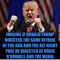 Kkk, Memes, and Rosie: IMAGINE IF DONALD TRUMP  E  DIRECTED THE SAME VITRIOL  AT THE KKK AND THE ALT-RIGHT  THAT HE DIRECTED AT ROSIE  O'DONNELL AND THE MEDIA SHARE if you agree!!!  Please LIKE Proud Liberals for all your political news!!!