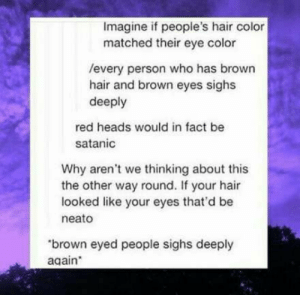 : Imagine if people's hair color  matched their eye color  /every person who has brown  hair and brown eyes sighs  deeply  red heads would in fact be  satanic  Why aren't we thinking about this  the other way round. If your hair  looked like your eyes that'd be  neato  brown eyed people sighs deeply  again