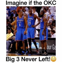 "Memes, Oklahoma, and 🤖: Imagine if the OKC  OKLAHOMA  CITY  CITY  I  Big 3 Never Left! They'd be deadly!😵 - Comment ""OKC"" letter by letter! - Follow @wildtapes for more!"