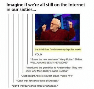 """Adele, Harry Potter, and Hermione: Imagine if we're all still on the Internet  in our sixties..  the third time I've broken my hip this week  YOLO  """"Screw the new version of 'Harry Potter. EMMA  WILL ALWAYS BE MY HERMIONE  """"Introduced the grandkids to Avatar today. They now  know why their daddy's name is Aang.  """"Just bought Adele's newest album 'Adele 74!""""  """"Can't wait for series three of Sherlock.  """"Can't wait for series three of Sherlock."""""""