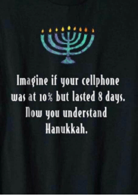 Hanukkah, Imagine, and Cellphone: Imagine if your cellphone  was at 10% but lasted 8 days.  low you understand  Hanukkah. Hanukkah For Dummies