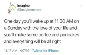Love Of Your Life: Imagine  @imagimeemee  One day you'll wake up at 11:30 AM on  a Sunday with the love of your life and  you'll make some coffee and pancakes  and everything will be all right  11:17 AM- 4/7/19 Twitter for iPhone