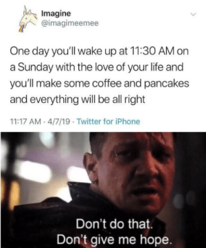 Emotional owie: Imagine  @imagimeemee  One day you'll wake up at 11:30 AM on  a Sunday with the love of your life and  you'll make some coffee and pancakes  and everything will be all right  11:17 AM 4/7/19. Twitter for iPhone  Don't do that.  Don't give me hope. Emotional owie