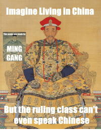 Meme, True, and China: Imagine Living in China  This meme was made by  MING  GANG  But the ruling class can't  even speak Chinese
