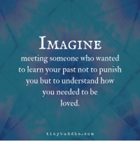 Meeting Someone: IMAGINE  meeting someone who wante  to learn your past not to punis  you but to understand how  you needed to be  loved.  tinybuddha.com