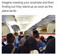 """Soon..., Flight, and Dank Memes: Imagine meeting your soulmate and then  finding out they stand up as soon as the  plane lands  drgrayfang (@drgrayfang) """"if I stand that'll show immediate dominance and get me out quicker, there's no way I'm just inconveniencing everyone else on this flight, no fuckin sir"""""""