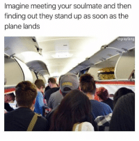 Memes, Soon..., and 🤖: Imagine meeting your soulmate and then  finding out they stand up as soon as the  plane lands  drgrayfang Imagine (@drgrayfang)