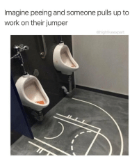 Work, Awesome, and Jumper: Imagine peeing and someone pulls up to  work on their jumper  @highfiveexpert This is awesome 😂 https://t.co/QHRO32XxSq