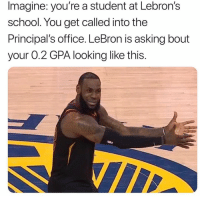 Nba, School, and Lebron: Imagine: you're a student at Lebron's  school. You get called into the  Principal's office. LeBron is asking bout  your 0.2 GPA looking like this. 😭😂😂😂