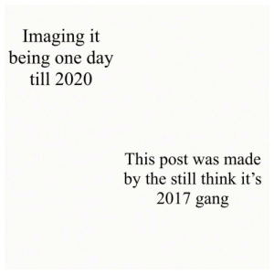 Imagine it being the next decade soon: Imaging it  being one day  till 2020  This post was made  by the still think it's  2017 gang Imagine it being the next decade soon