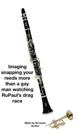 Trademark brass section: Imaging  snapping your  reeds more  than a gay  man watching  RuPaul's drag  race  Made by the brass  section Trademark brass section