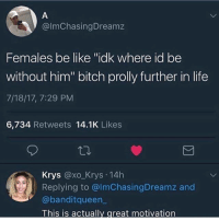 """Be Like, Bitch, and Life: @ImChasing Dream:z  Females be like """"idk where id be  without him"""" bitch prolly further in life  7/18/17, 7:29 PM  6,734 Retweets 14.1K Likes  Krys @xo_Krys 14h  Replying to @lmChasingDreamz and  @banditqueen  This is actually great motivation Haha"""