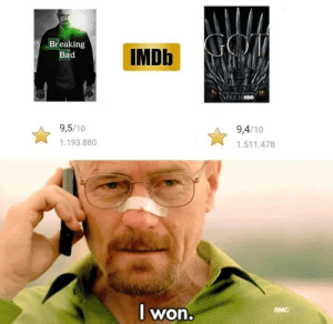 Bad, Breaking Bad, and Memes: IMDb  Breaking  Bad  9,5/10  9,4/10  1.193.880  1.511.478  l won  амс