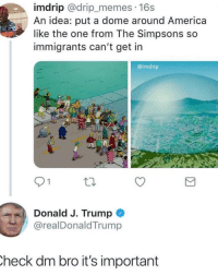"America, Memes, and The Simpsons: imdrip @drip_memes. 16s  An idea: put a dome around America  like the one from The Simpsons so  immigrants can't get in  @imdrip  9 1  Donald J. Trump  @realDonaldTrump  heck dm bro it's important <p>Simpson are so advance via /r/memes <a href=""http://ift.tt/2nthirU"">http://ift.tt/2nthirU</a></p>"