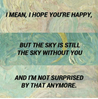 Im Not Surprised: IMEAN IHOPE YOURE HAPPY.  BUT THE SKY IS STILL  THE SKY WITHOUT YOU  AND IM NOT SURPRISED  BY THAT ANYMORE.