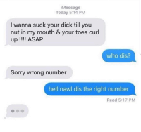 "Sorry, Tumblr, and Who Dis: iMessage  Today 5:14 PM  I wanna suck your dick till you  nut in my mouth & your toes curl  up !! ASAP  who dis?  Sorry wrong number  hell nawl dis the right number  Read 5:17 PM <p><a href=""http://memehumor.net/post/175423160521/hell-naw"" class=""tumblr_blog"">memehumor</a>:</p>  <blockquote><p>HELL NAW</p></blockquote>"