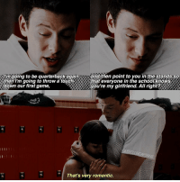 tb to New Year's Eve when Lea watched this episode ♡: Imgoing to be quarterback again,  and then point to you in the stands so  then I'm going to throw a touch  that everyone in the school knows  down our first game,  GLEECUBCAPTAINS  That's very romantic. tb to New Year's Eve when Lea watched this episode ♡
