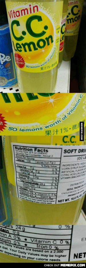 Vitamin Comg-humor.tumblr.com: imin  Vitamin  VImon  emon  Be  Le  50 lemons worth of Vitami °  果汁1%-微  westence  果汁1%-微  C.C.  SO lemons  Nutrition Facts  Serving Size 8t oz (240m)  Servings Per Container About 2  Amount Per Servng  SOFT DRI  (CC LE  Calories 100  Calones from Fat 0  % Daity Value  INGREDIENTS HIGH  CORN SYRUP, SUGAR  ARTIFICIAL FLAVOR VIT  CITRIC ACID CALCIUM PA  0%VITAMIN B68CAROTENE  2%  Total Fat 0g  Saturated Fat 0g  Trans Fat Og  Cholesterol 0 mg  Sodium 45 mg  0%  Total Carbohydrate 24 g  Dietary Fiber 0g  DISTRIBUTED BY  Sugars 24 g  Protein 0g  ENGLEWOO0 N076  PRODUCTOF uN  SEOUL TRADINGUSA a  itamin A 0 % Vitamin C0  Calcium 0%.  *Percent Daly  orie diet Values are based on a 2,00  calore  Or lo Your Daily  Tron 0 %  Gependine Values may be higher  NET WT. 16.6 FL OZ (  your calorie needs.  gars 24 g  tein 0g  0%  min A 0% Vitamin C 0 %  cium 0%  ent Daily Values are based on a 2,000  e diet. Your Daily Values may be higher  er depending on your calorie needs.  EN  Tron 0 %  NET  CHECK OUT MEMEPIX.COM  MEMEPIX.COM  th of Vitamin Vitamin Comg-humor.tumblr.com