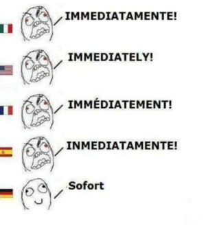 German language is wierd: IMMEDIATAMENTE!  IMMEDIATELY!  IMMÉDIATEMENT!  INMEDIATAMENTE!  Sofort German language is wierd