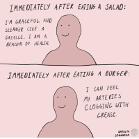 Memes, Gazelle, and Grease: IMMEDIATELY AFTER EATING A SALAD:  1 M GRACEFUL AND  SLENDER LIkE A  GAZELLE. I AM A  BEACON OF HEALTH.  1MMEDIATELY AFTER EATING A BURGER:  T CAN FEEL  MY ARTERIES  CLOGGING WITH  GREASE.  NATALYA  LOBANOVA Worth it.