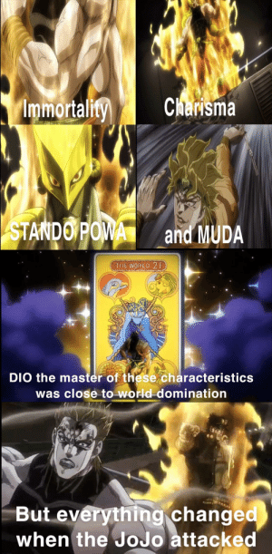 DIO the last Brando: Immortality  Charisma  STANDO POWA  and MUDA  THE WORLD 2  DIO the master of these characteristics  was close to world domination  But everything changed  when the JoJo attacked DIO the last Brando