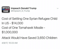 Children, Donald Trump, and Trump: IMPEACH  Impeach Donald Trump  almpeach D Trump  TRUMP  Cost of Settling One Syrian Refugee Child  In US $14,000  Cost of One Tomahawk Missile  $1,000,000  Attack Would Have Saved 3,650 Children  4/9/17, 10:23 AM Liberal Progress