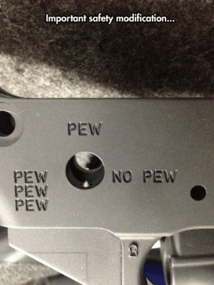 laughoutloud-club:  To Pew Or Not To Pew: Important safety modification...  PEW  PEW  PEW  PEW  NO PEW laughoutloud-club:  To Pew Or Not To Pew