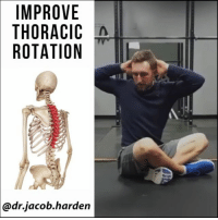 "Memes, Work, and Brain: IMPROVE  THORACIC  ROTATION  @dr.jacob.harden IMPROVE YOUR THORACIC MOBILITY An important piece of improving mobility that a lot of people miss is end range 💪 strength. We can stretch and mobilize all day, but if you don't have the strength to hold your new position, you won't keep it very long. The ⚡ brain works on a ""use it or lose it"" principle. This is why we need to work ACTIVELY into new ranges of motion and partly why I'm a big advocate of contract-relax stretching for mobility improvement. Here we go over a quick and easy test and drill for improving your thoracic rotation. There's a lot of good thoracic mobility drills out there, but this is probably my favorite because it really gets the nervous system 🔌 plugged in and contracting into those new end ranges. Perform 5 to 10 per side and try to hold the end range for 5 seconds or more. Give it a try, retest, and then tag a friend with a stiff back and share the wealth! MyodetoxOrlando Myodetox"