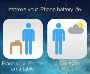 srsfunny:  Improve Your iPhone Battery Lifehttp://srsfunny.tumblr.com/: Improve your iPhone battery life.  Go outside  Place your iPhone  on a table srsfunny:  Improve Your iPhone Battery Lifehttp://srsfunny.tumblr.com/