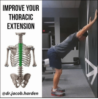 Curving, Memes, and Work: IMPROVE YOUR  THORACIC  EXTENSION  dr.jacob harden THE DRILL THAT CAN MAKE YOU TALLER If you are trying to fix posture or movement, the thoracic spine is an area that typically needs some TLC. We see a lot of restriction and exaggerated the flexion of the midback here. This leads to an increased kyphotic curve and will actually lead to you ⤵ losing height. Which means this drill can actually make you ↕ taller! Fixing the thoracic spine will go a long way towards making your neck, shoulders, and low back feel better. If you find that you have 😣neck pain or limited shoulder mobility, addressing the t-spine can go a long way. This drill should give you some good thoracic extension as well as a nice pec stretch. If you feel any 💥 pinching in the shoulder, you can try a wider hand position, but if that doesn't work, you need to address the pinch before doing this one. 👊 Knock out 10 to 20 reps and get yourself standing up taller. Tag a friend who needs to fix their posture and share the wealth! MyodetoxOrlando Myodetox