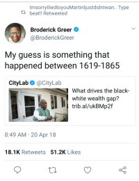 Blackpeopletwitter, Black, and Guess: ImsorrylliedtoyouMartinljustdidntwan.. Type  ta beat!! Retweeted  Broderick Greer  @BroderickGreer  My guess is something that  happened between 1619-1865  CityLab Ф @CityLab  What drives the black  white wealth gap?  trib.al/ukBMp2f  8:49 AM 20 Apr 18  18.1K Retweets 51.2K Likes <p>Researchers working like slaves to find the answer (via /r/BlackPeopleTwitter)</p>