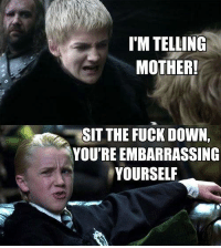 Memes, 🤖, and Embarrassed: IMTELLING  MOTHER!  SIT THE FUCK DOWN.  YOU'RE EMBARRASSING  YOURSELF Filthy little mudblood
