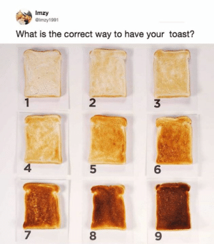 Dank, What Is, and Toast: Imzy  GImzy1991  What is the correct way to have your toast?  2  3  4  5  6  7  8  9 However you personally prefer it.