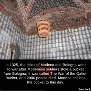 Facts Book: In 1325, the cities of Modena and Bologna went  to war after Modenese soldiers stole a bucket  from Bologna. It was called The War of the Oaken  Bucket, and 2000 people died. Modena still has  the bucket to this day.  Facts book