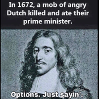 Memes, Angry, and Dutch Language: In 1672, a mob of angry  Dutch killed and ate their  prime minister.  options. Just sayin