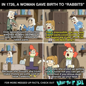 """Animals, Crazy, and Facts: IN 1726, A WOMAN GAVE BIRTH TO """"RABBITS""""  Over several months, doctors  watched as Mary SEEMED to  give birth to 17 rabbits and  rabbit parts.  That's impossible, the only way  rabbit parts could come out of  her vagina are if sheloh. OH  OH NOO.  Why?!  凸  Because she thought she could  make money as some sort of  freak celebrity  Ultimately she ended up getting  sick. It turns out you can get an  infection if you shove dead  animals up your twat.  FOR MORE MESSED UP FACTS, CHECK OUT HAT TE  1 Learn more crazy animal facts on What the F 101, streaming now on DROPOUT —> https://bit.ly/2EzxQGe"""