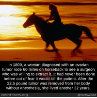 Facts, Memes, and Weird: In 1809, a woman diagnosed with an ovarian  tumor rode 60 miles on horseback to see a surgeon  who was willing to extract it. It had never been done  before out of fear it would kill the patient. After the  22.5 pound tumor was removed from her body  without anesthesia, she lived another 32 years.  weird-facts.org  @facts weird