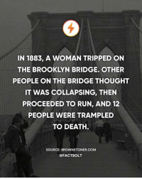 And more than 35 people were injured. — Source: (Brownstoner) http:-bit.ly-bridgestampede: IN 1883, A WOMAN TRIPPED ON  THE BROOKLYN BRIDGE. OTHER  PEOPLE ON THE BRIDGE THOUGHT  IT WAS COLLAPSING, THEN  PROCEEDED TO RUN, AND 12  PEOPLE WERE TRAMPLED  TO DEATH  SOURCE: BROWNSTONER.COM  @FACTBOLT And more than 35 people were injured. — Source: (Brownstoner) http:-bit.ly-bridgestampede