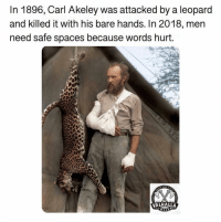 Memes, 🤖, and Spaces: In 1896, Carl Akeley was attacked by a leopard  and killed it with his bare hands. In 2018, mern  need safe spaces because words hurt.  VALHALLA Check out @valhallawear