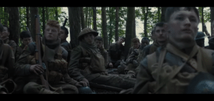 """In 1917 (2019), during the scene where Schofield meets the soldiers in the woods, part of the script read """"Schofield stops on the edge of the clearing. Unsettled by the world before him. Unsure if these men are living or dead. Unsure if he is one of these ghosts"""": In 1917 (2019), during the scene where Schofield meets the soldiers in the woods, part of the script read """"Schofield stops on the edge of the clearing. Unsettled by the world before him. Unsure if these men are living or dead. Unsure if he is one of these ghosts"""""""