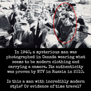 Tumblr, Blog, and Camera: In 1940, a mysterious man was  photographed in Canada wearing what  seems to be modern clothing and  carrying a camera. Its authenticity  was proven by NTV in Russia in 2010.  Is this a man with incredibly modern  style? Or evidence of time travel? epicjohndoe:  Mysterious Man