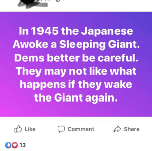 Giant, Sleeping, and Japanese: In 1945 the Japanese  Awoke a Sleeping Giant.  Dems better be careful.  They may not like what  happens if they wake  the Giant again.  Like  Share  Comment  D 13 Well then