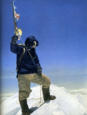 In 1953, Edmund Hillary and Tenzig Norgay (Sherpa) were the first human beings to ever reach the summit of Mount Everest. This is the only proof. It is a photo that Hillary took of Norgay with his axe. Norgay offered to take one of Hillary but he declined. The stayed at the summit for 15 minutes.: In 1953, Edmund Hillary and Tenzig Norgay (Sherpa) were the first human beings to ever reach the summit of Mount Everest. This is the only proof. It is a photo that Hillary took of Norgay with his axe. Norgay offered to take one of Hillary but he declined. The stayed at the summit for 15 minutes.