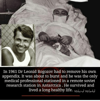 Antarctica: In 1961 Dr Leonid Rogozov had to remove his own  appendix. It was about to burst and he was the only  medical professional stationed in a remote soviet  research station in Antarctica He survived and  lived a long healthy life. Or