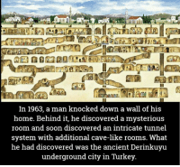 Memes, Turkey, and 🤖: In 1963, a man knocked down a wall of his  home. Behind it, he discovered a mysterious  room and soon discovered an intricate tunnel  system with additional cave-like rooms. What  he had discovered was the ancient Derinkuyu  underground city in Turkey