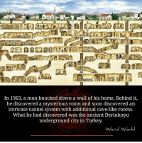 Memes, Weird, and Discover: In 1963, a man knocked down a wall of his home. Behind it,  he discovered a mysterious room and soon discovered an  intricate tunnel system with additional cave-like rooms.  What he had discovered was the ancient Derinkuyu  underground city in Turkey.  Weird World