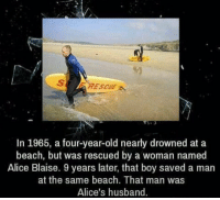 Memes, Coincidence, and 🤖: In 1965, a four-year-old nearly drowned at a  beach, but was rescued by a woman named  Alice Blaise. 9 years later, that boy saved a man  at the same beach. That man was  Alice's husband. Amazing coincidence.