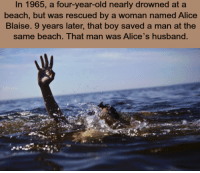 Beach, Http, and Husband: In 1965, a four-year-old nearly drowned at a  beach, but was rescued by a woman named Alice  Blaise. 9 years later, that boy saved a man at the  same beach. That man was Alice's husband. MIND = BLOWN http://t.co/Pr6c67AOpJ